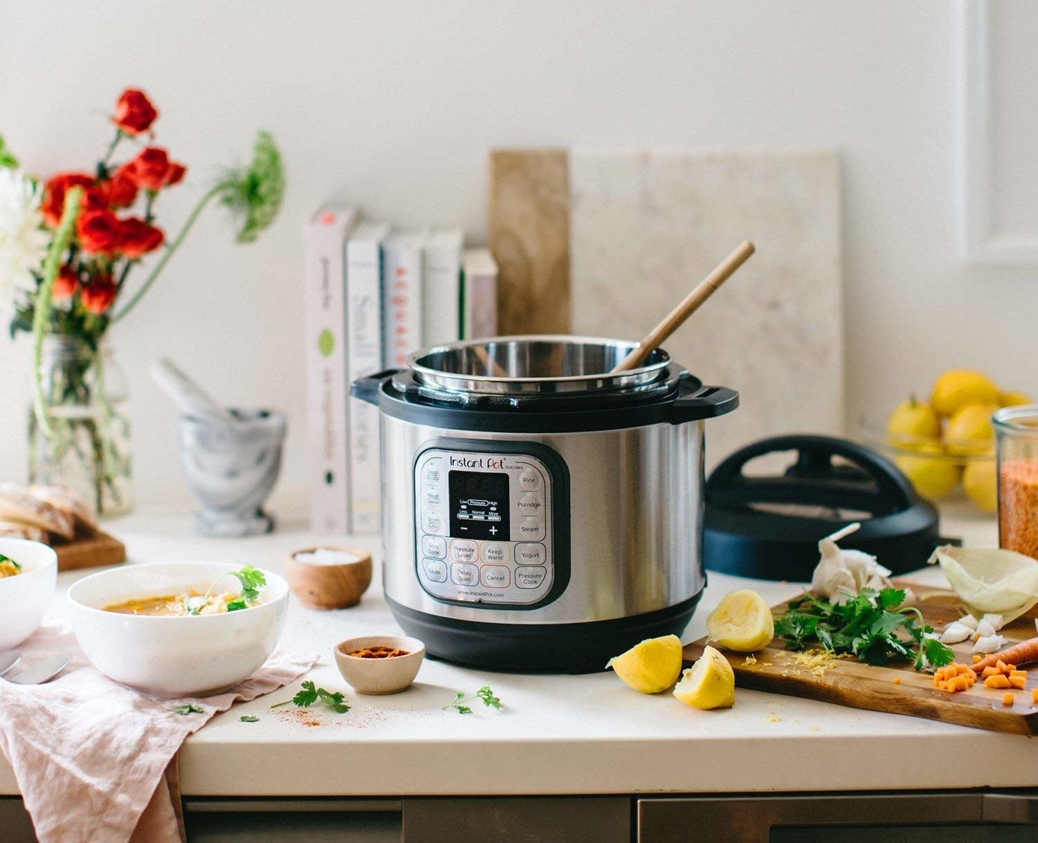 Instant Pot is used to make a soup dish