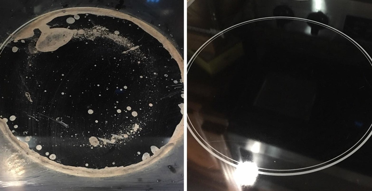 Before and after photos of using the cooktop cleaning kit to scrub an electric stove