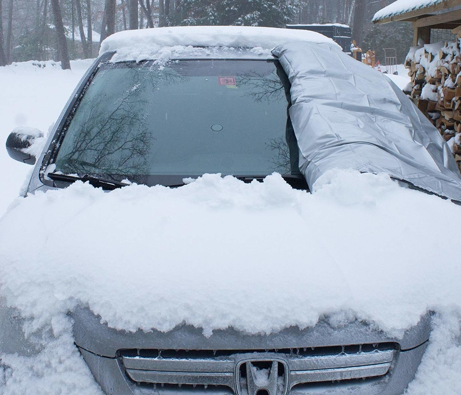 the windshield cover in use