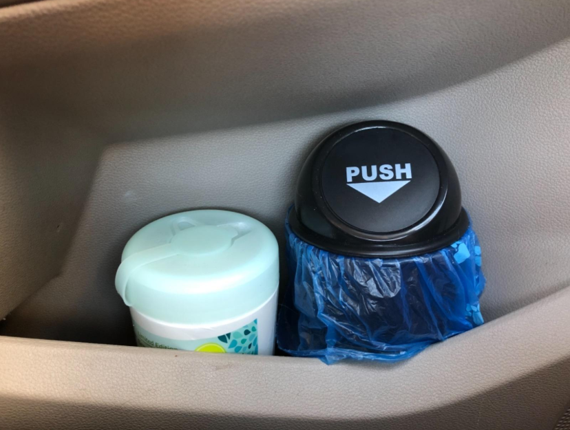 cupholder trashcan in a car