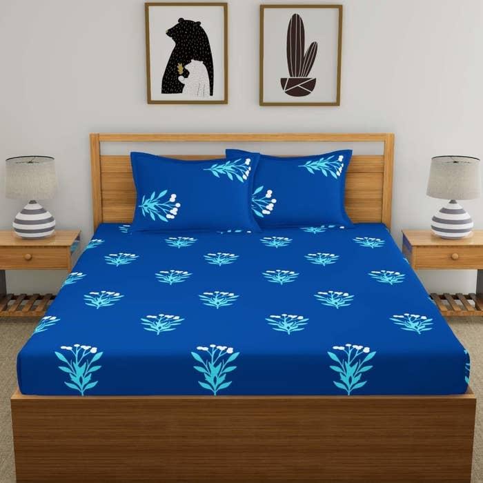 A blue bedsheet