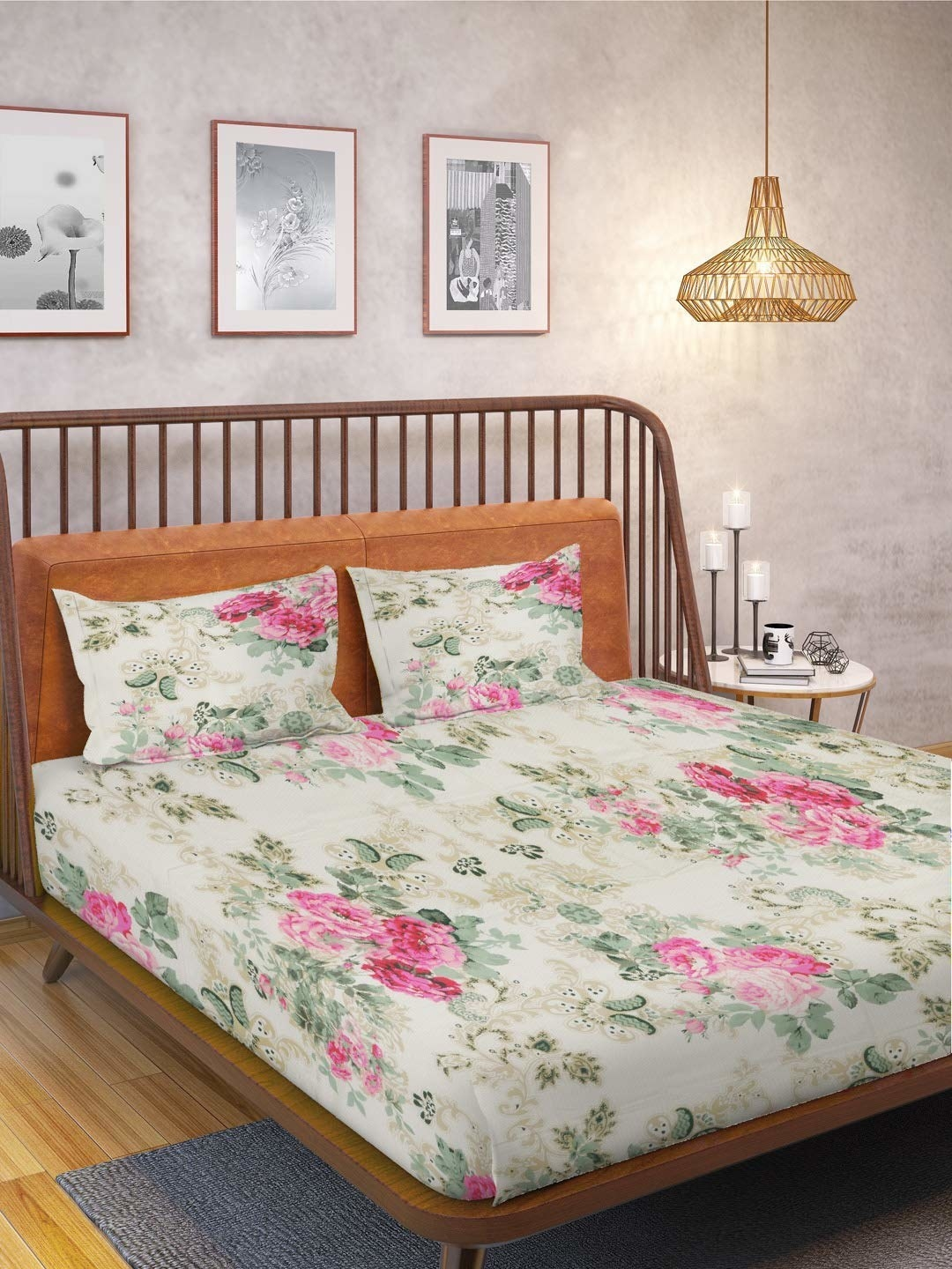 A floral white bedsheet