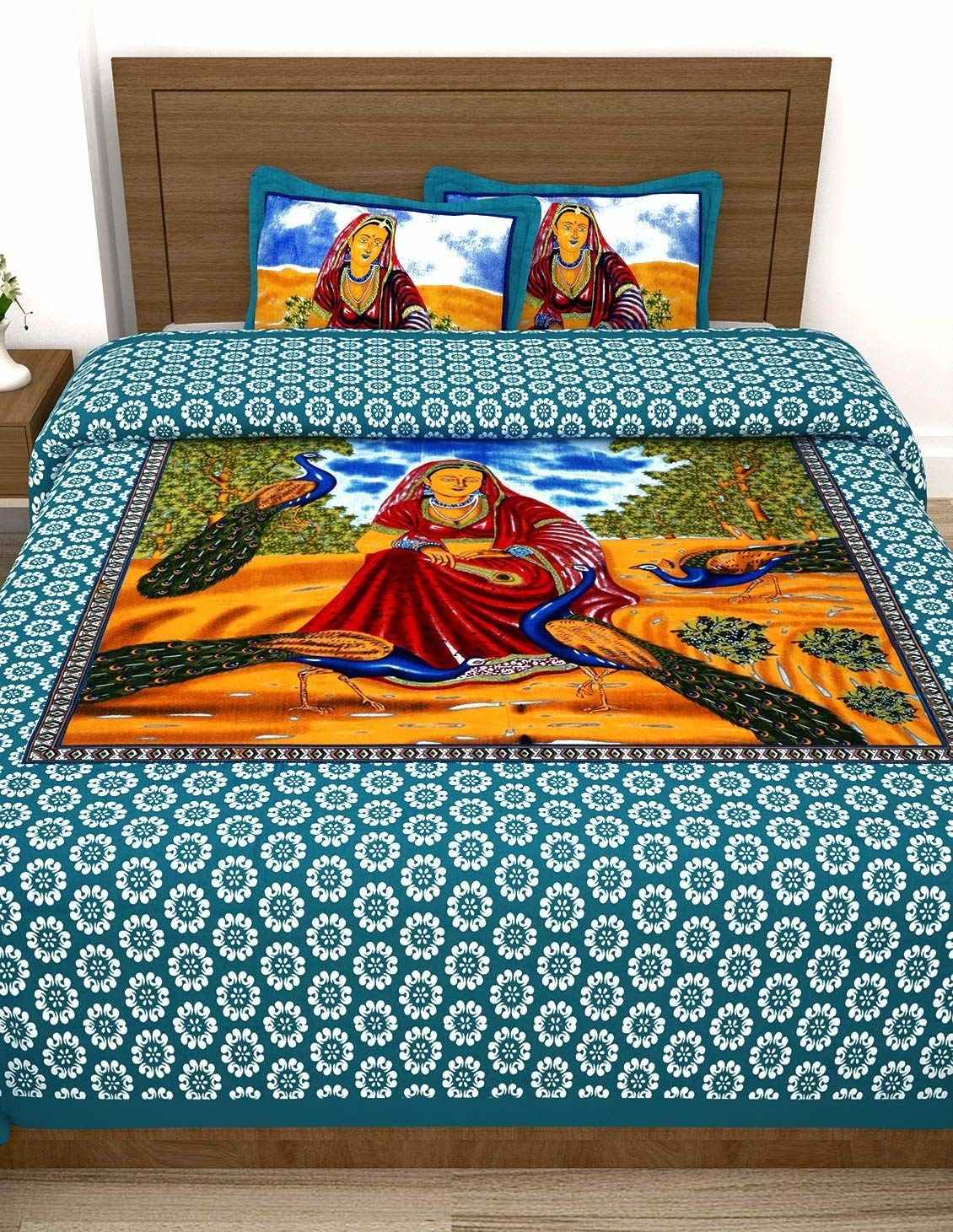 A blue and white Rajasthani bedsheet