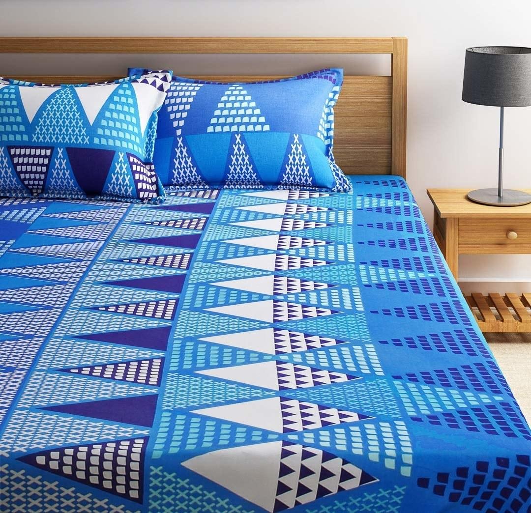 A triangular blue bedsheet
