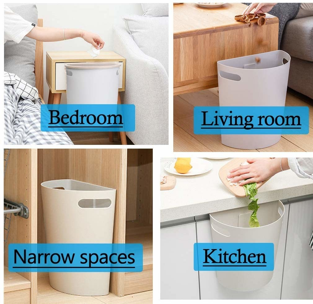 A collage showing the trashcan, which is a semi-circle shape, can fit in small spaces, on a bedroom nightstand, attached to a kitchen counter, and in the living room