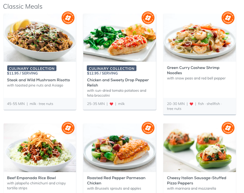 The list of meals available