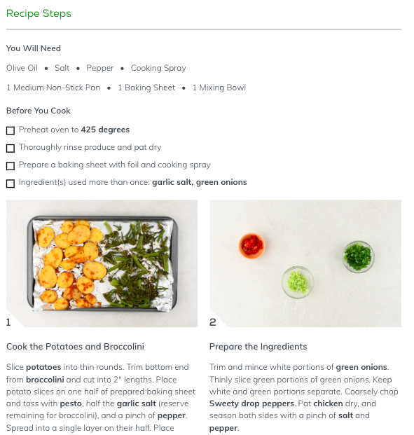 An example recipe with step by step instructions