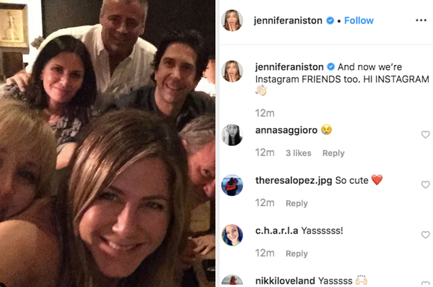 """Jennifer Aniston Just Joined Instagram And Shared A Reunion Pic Of The Whole """"Friends"""" Cast"""