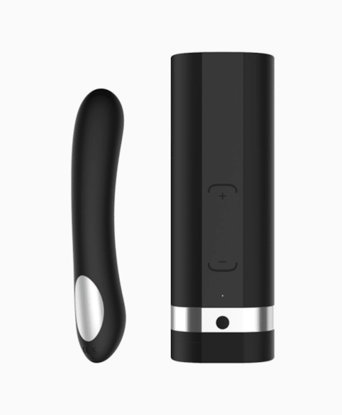 A long black vibrator and a black dick massager that's shaped like a rectangular case.