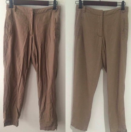A pair of pants that are very wrinkly made wrinkle-free after using steamer