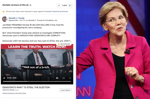 Facebook Said Politicians Can Lie In Ads. It's Taking Down Ads From Warren, Biden, And Trump For Other Reasons.