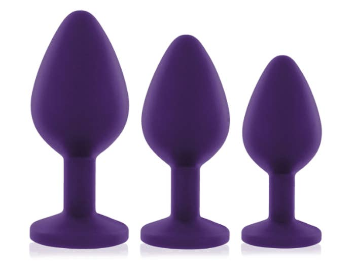 Three tapered butt plugs in different sizes