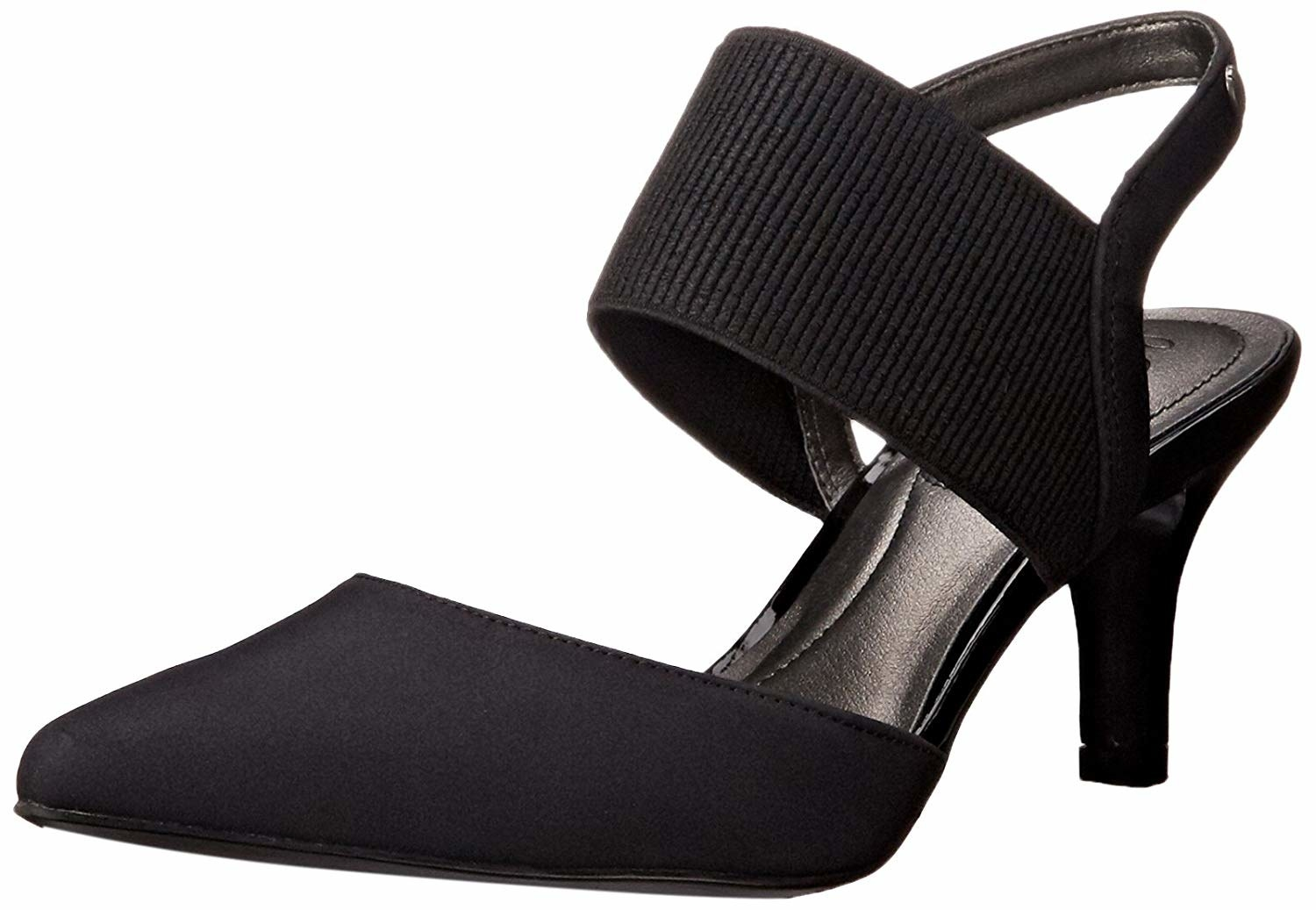 The black closed-toe heels with a skinny strap around the back of the heel and a thick elastic strap in the front