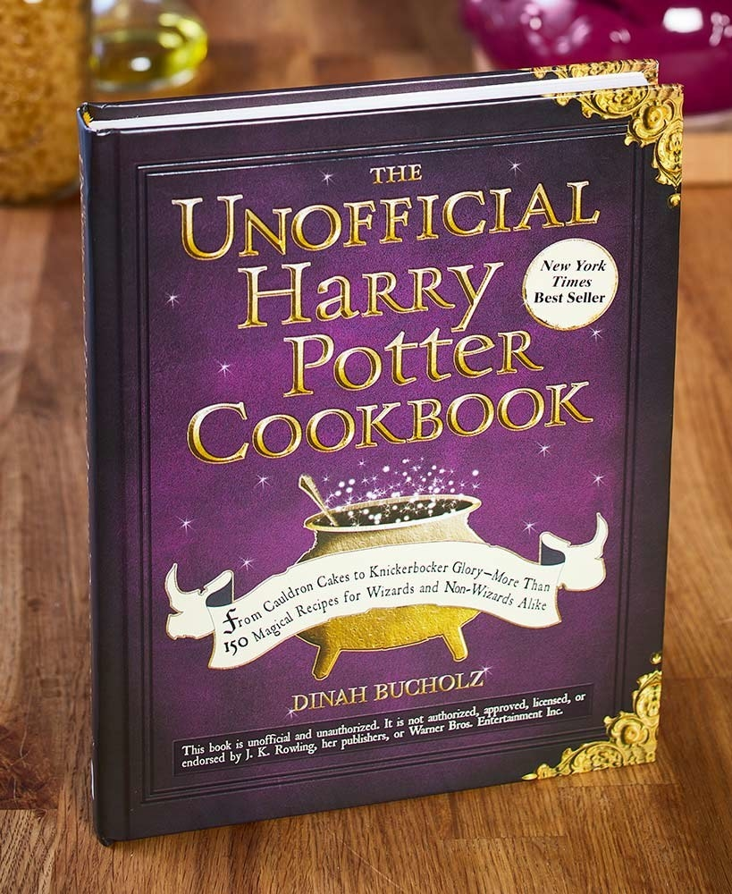 A book on a surface that says The Unofficial Harry Potter Cookbook