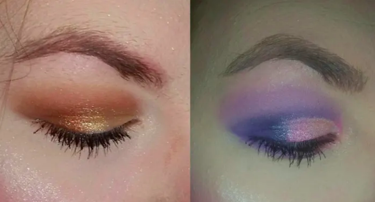 A reviewer with baby hairs around their eyebrow on the left and the same reviewer with clean edges around her eyebrow after using the tool in the image on the right