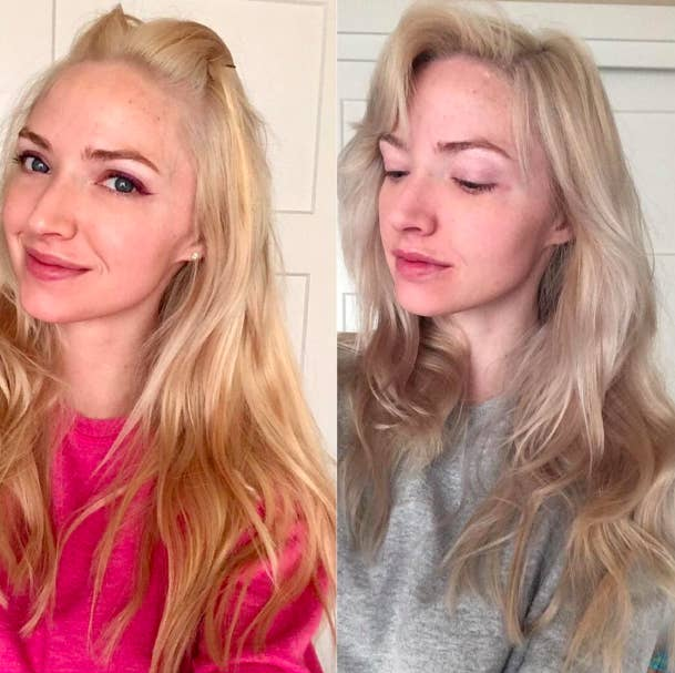 A reviewer with brassy blonde hair before using the mask // The same reviewer with ashier hair after using the mask