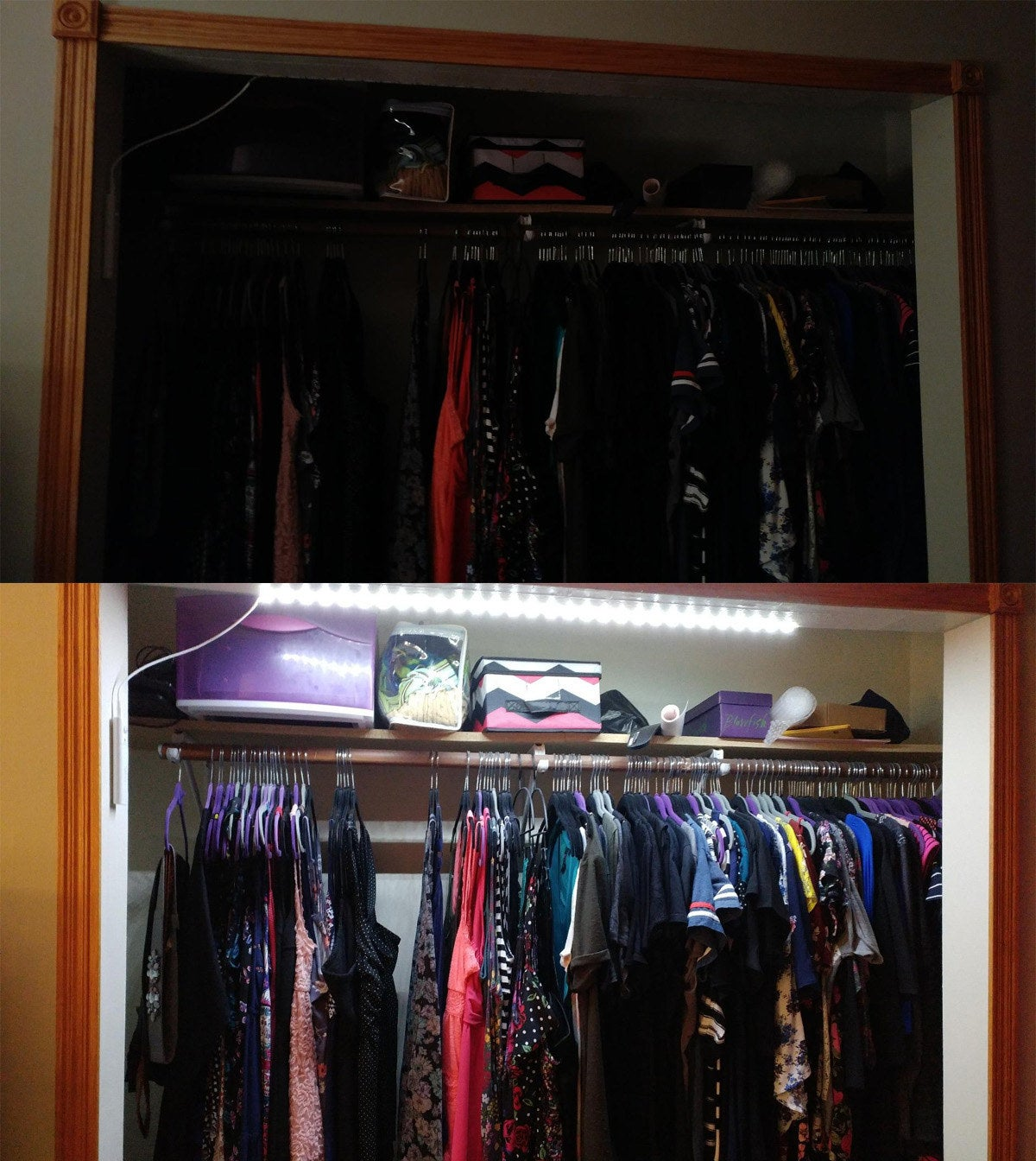 A reviewer showing the dark closet, unable to see anything inside and then showing the closet with the light strip illuminating all the clothing inside