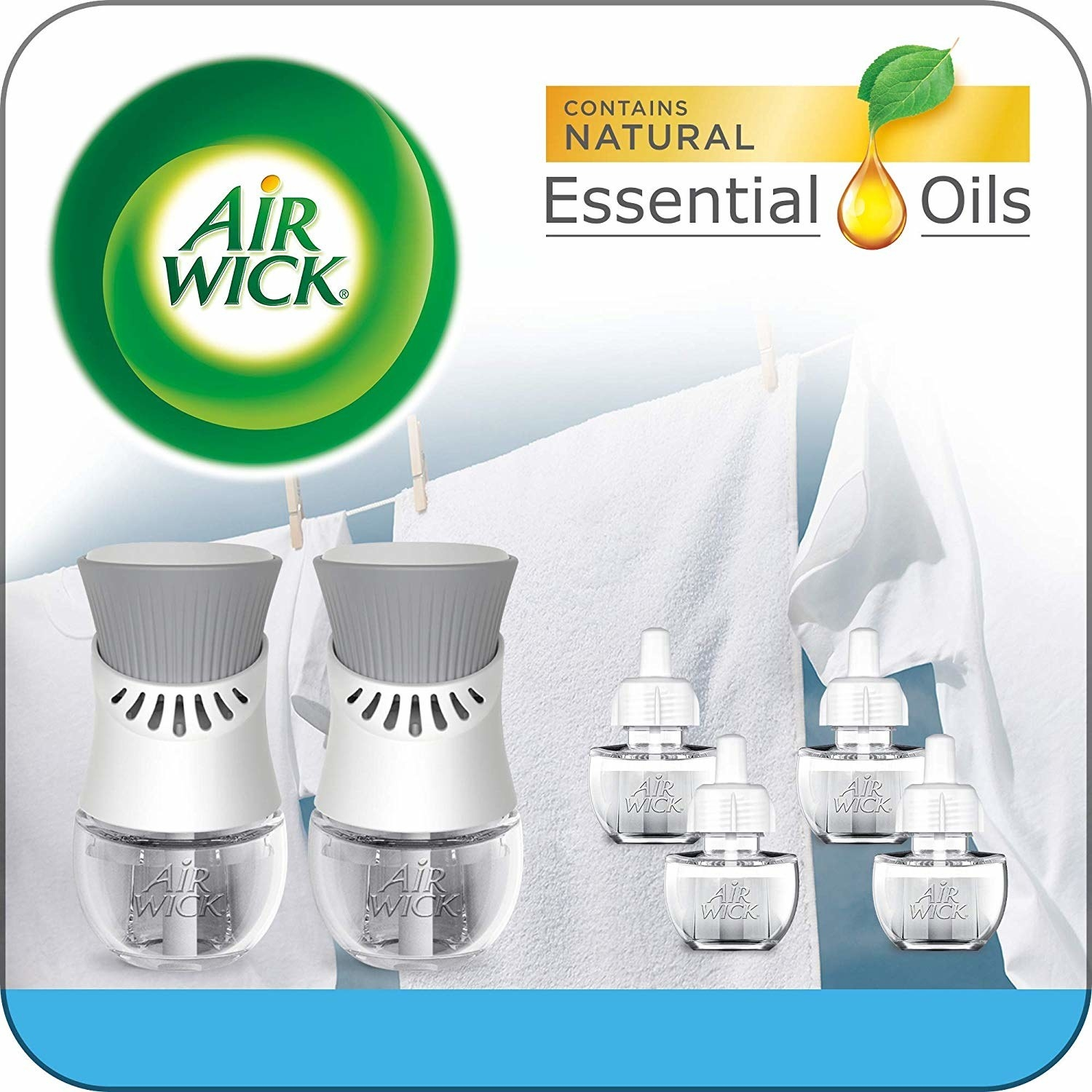 Two air freshener devices and liquid refill bottles