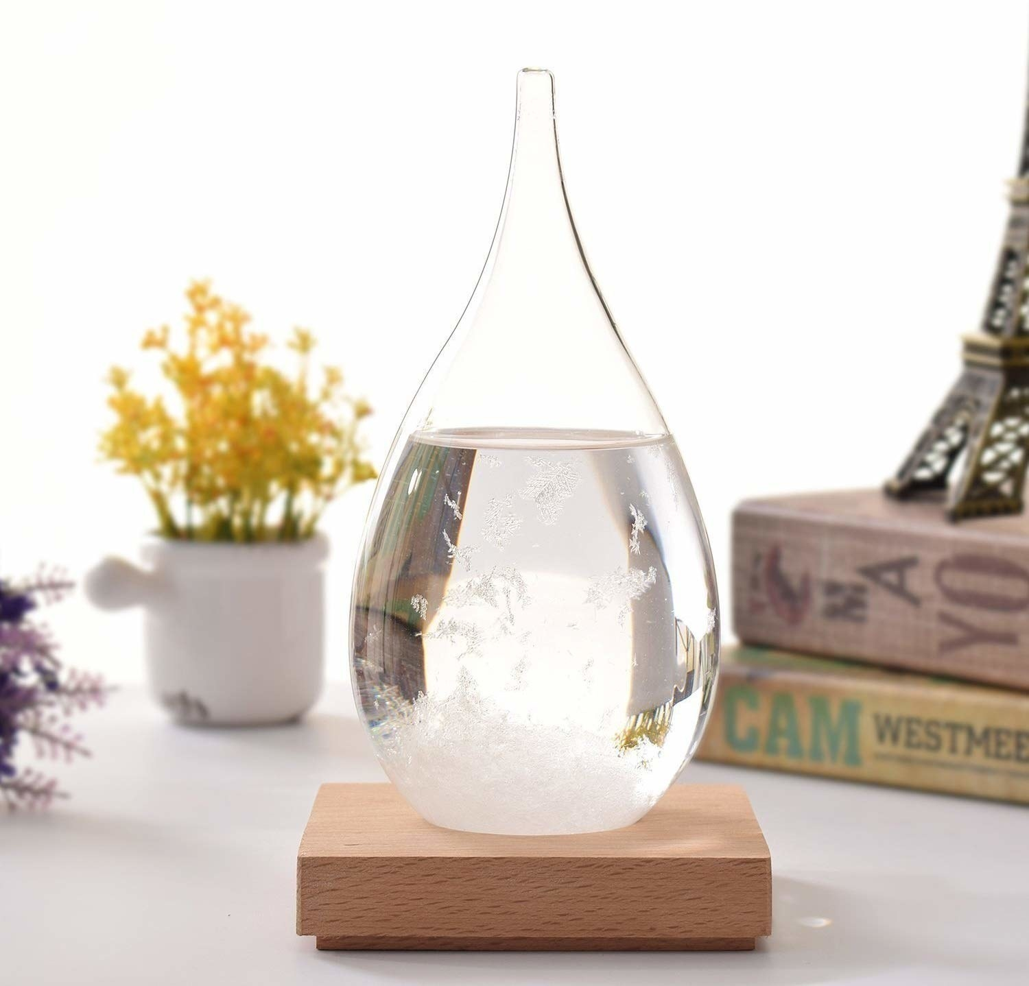 The teardrop-shaped storm glass filled with a liquid and crystals