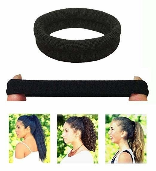 The hair ties in black and a few photos of models with different hair textures showing their hair in a ponytail
