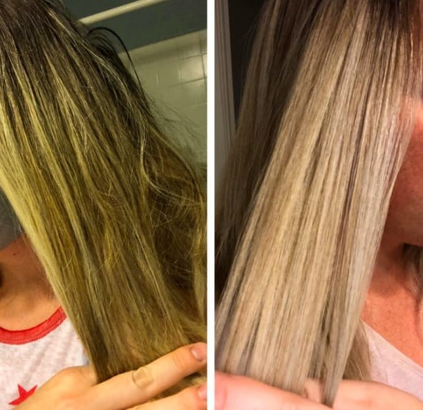 Reviewer's before-and-after of their hair looking yellow and brassy compared to it looking much more smooth and light blonde