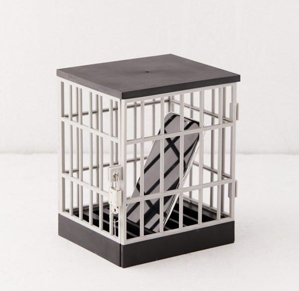 The cellphone jail with a smartphone locked inside