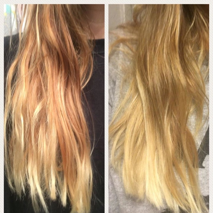 reviewer's before-and-after of their hair looking frizzy compared to it looking more smooth and tame