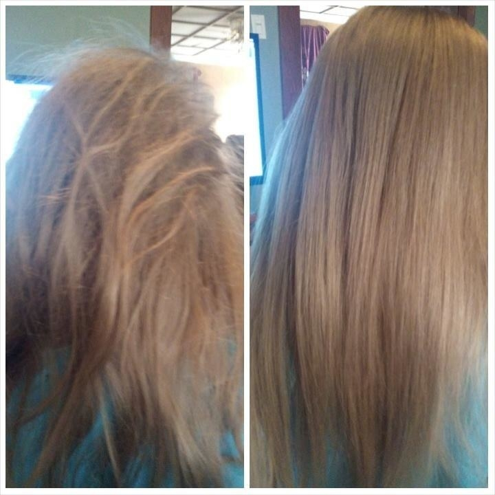 Another reviewer showing the before-and-after of their straight hair looking tangled and messy and then smooth and tangle-free