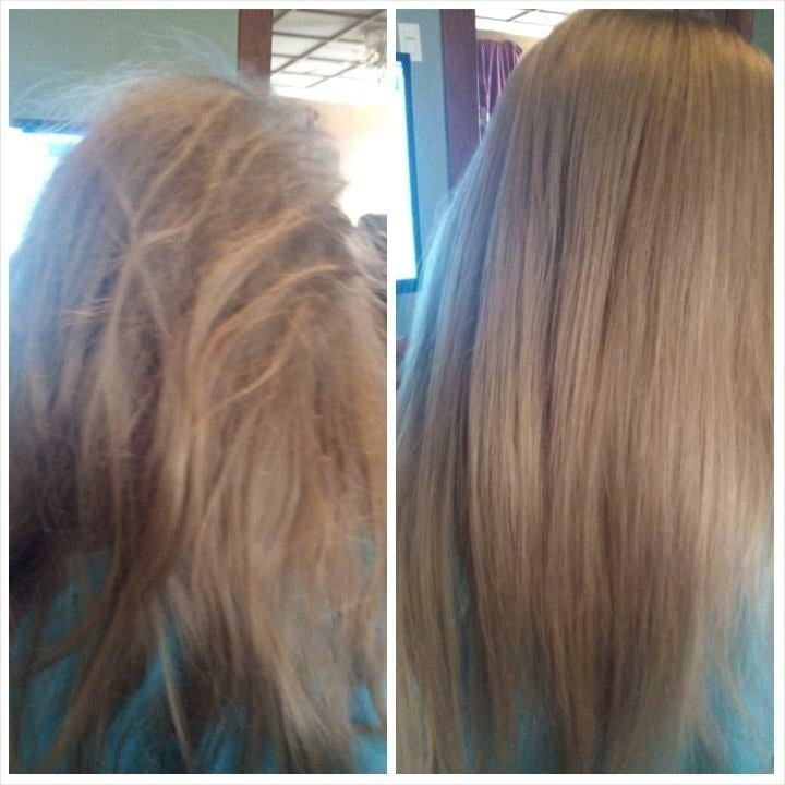 reviewer's before-and-after of their straight tangled, messy hair compared to it looking smooth and tangle-free