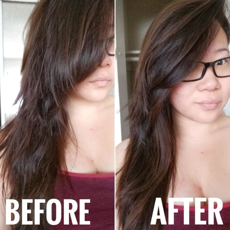 reviewer's pic before of hair with flyaways, then smooth hair after applying the serum