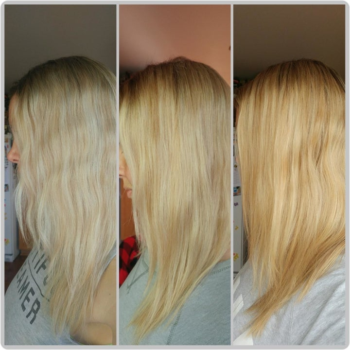 Progression shot of reviewer's hair lightening from orange to icy blonde