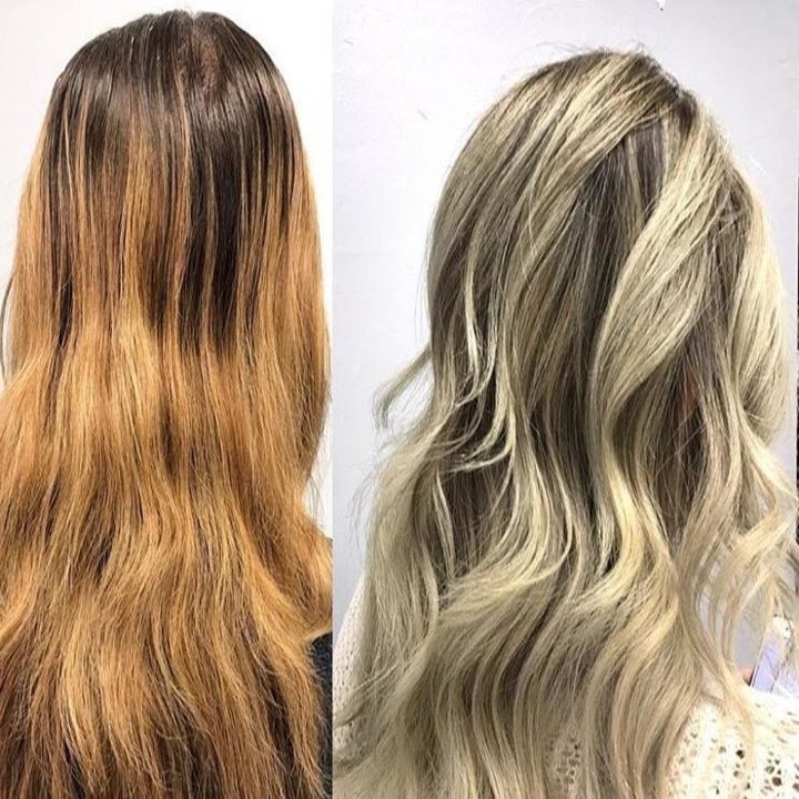 Before and after showing the shampoo removed brassiness from the user's hair, leaving it cool and blonde