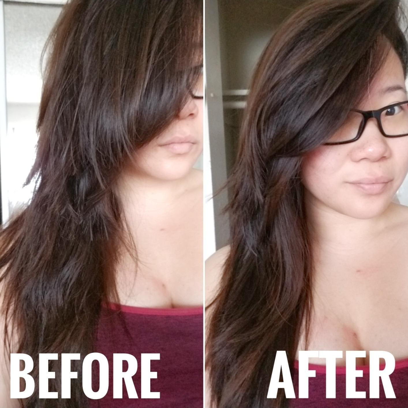 A before-and-after of a reviewer with dry, damaged hair and split ends compared to much healthier and smoother looking hair after using the serum