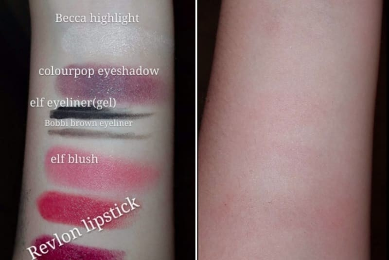 makeup cloth removing tons of different makeup brands swatched onto arm