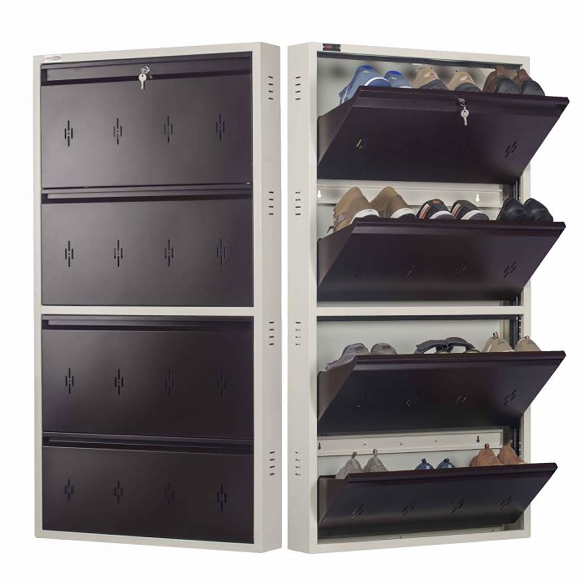 A shoe rack showing both closed and open racks.