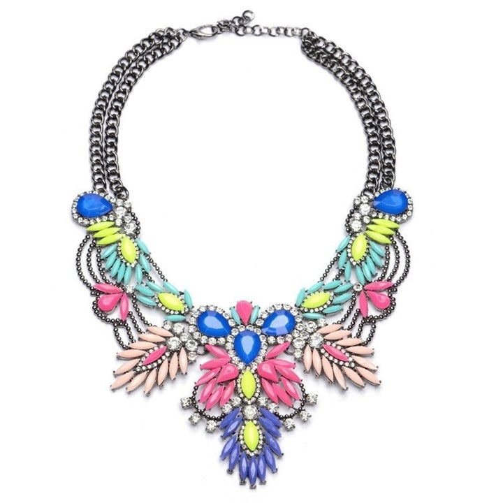The pink, yellow, mint, blue, and purple gem statement necklace with a silver chain