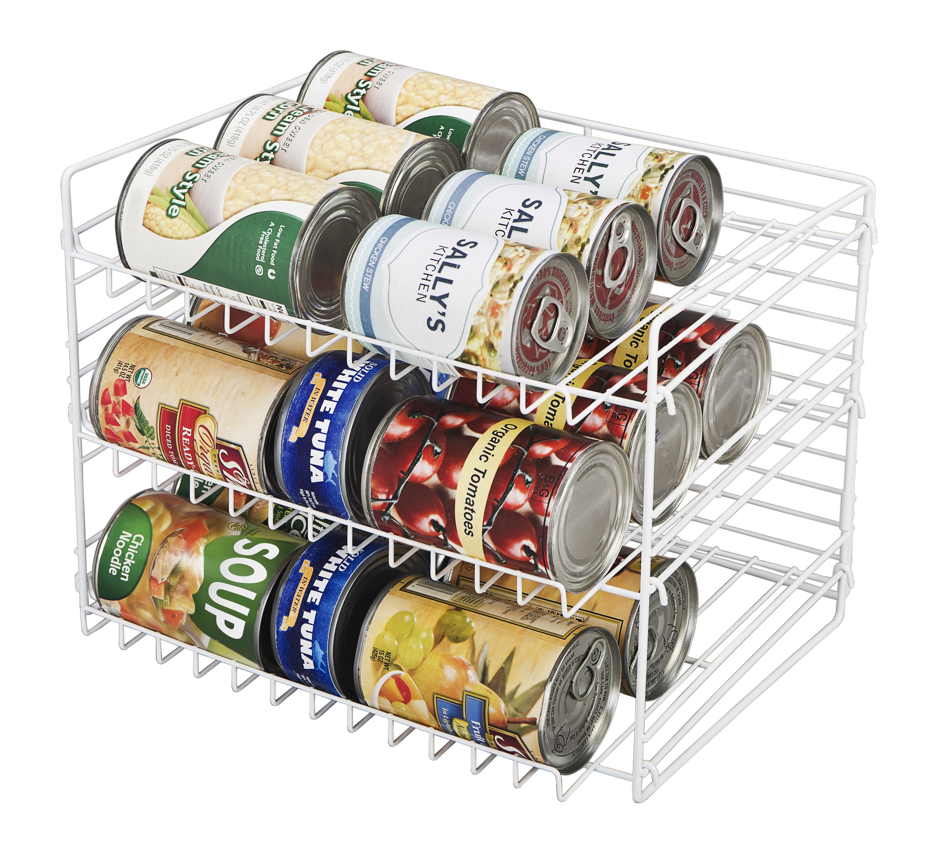 the can organizer holding cans