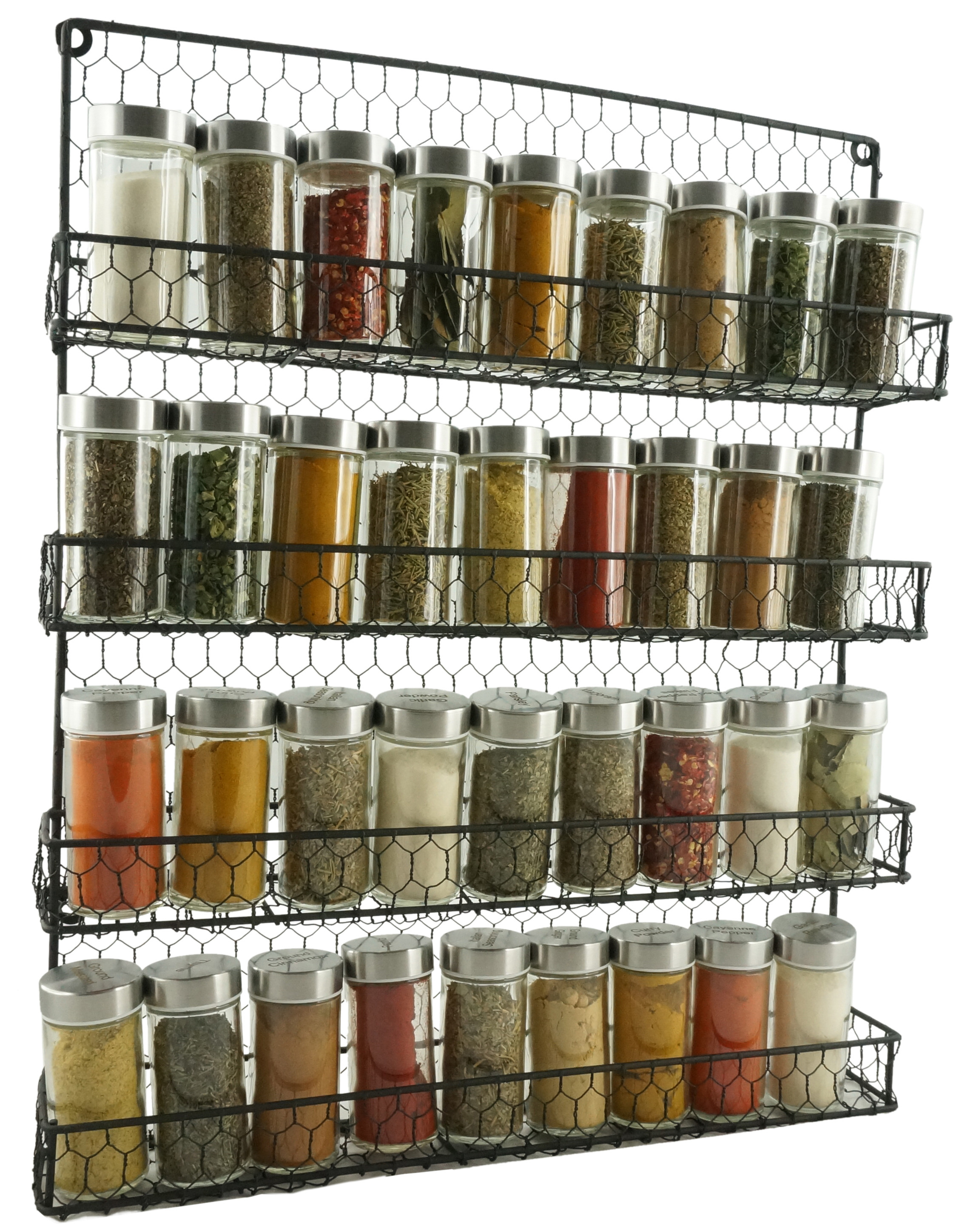 the wall-mounted spice rack holding four rows of nine spice each