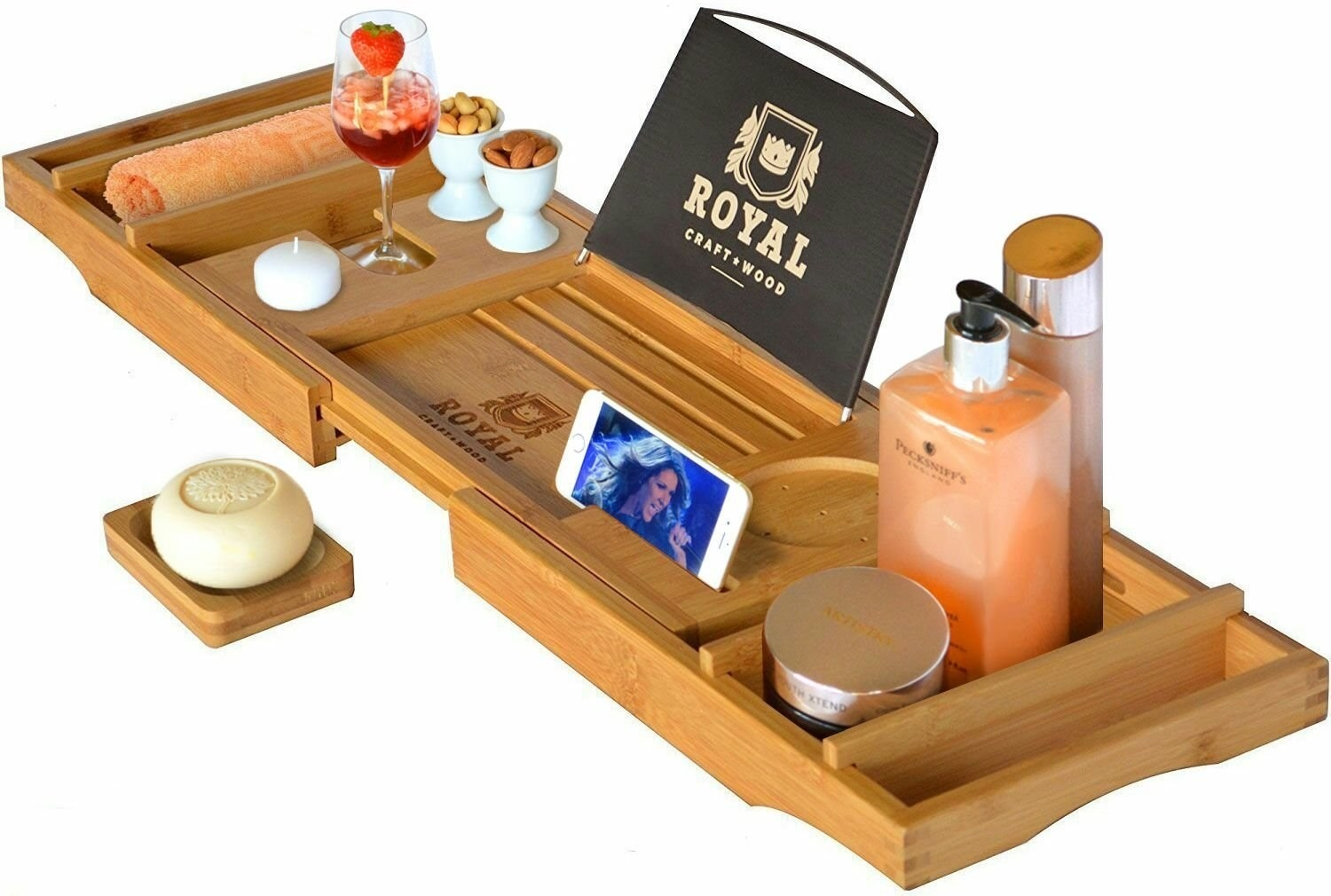 the bath caddy holding an assortment of items