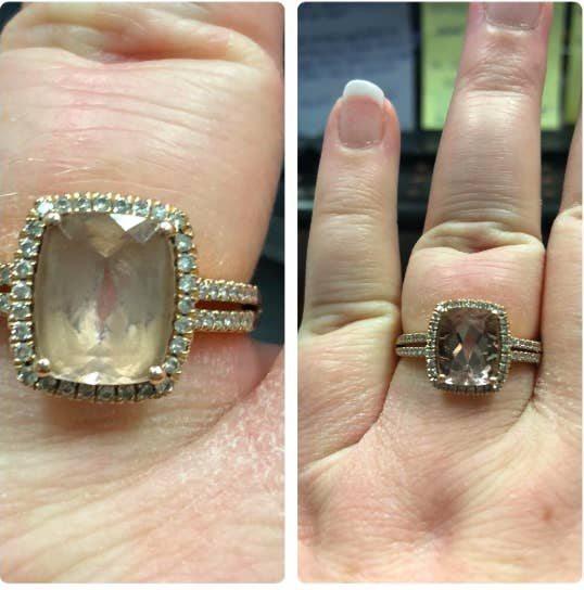 On the left, a reviewer wearing a large gemstone ring that's very cloudy. On the right, the same ring sparkling and clear