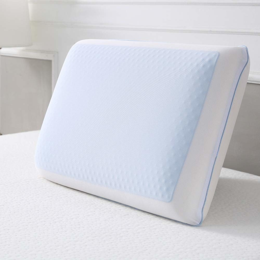A pillow, without a pillow case, showing the cool-gel material
