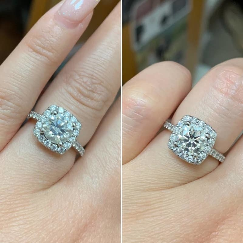 on the left a reviewer's diamond ring looking slightly cloudy and on the right the ring looking clearer