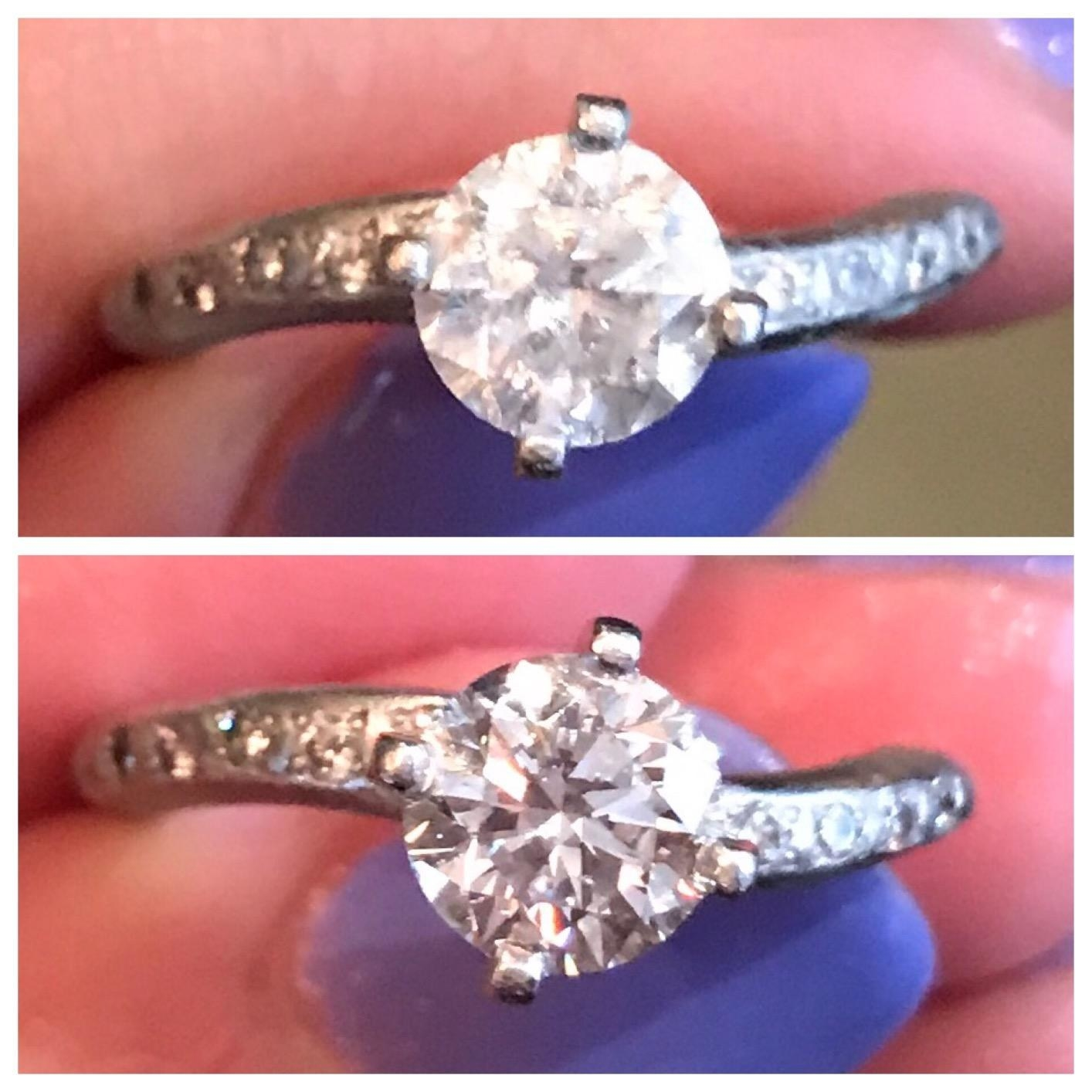 Reviewer's photo of a cloudy diamond ring next to an after photo of a much more clear, defined, and shiny ring
