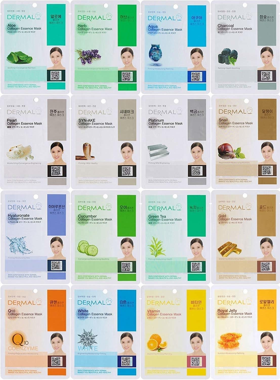 a grid of sixteen different facial masks