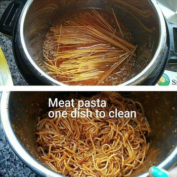 a before and after shot of past being cooked in an instant pot