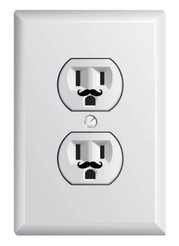 Teeny mustaches on outlets
