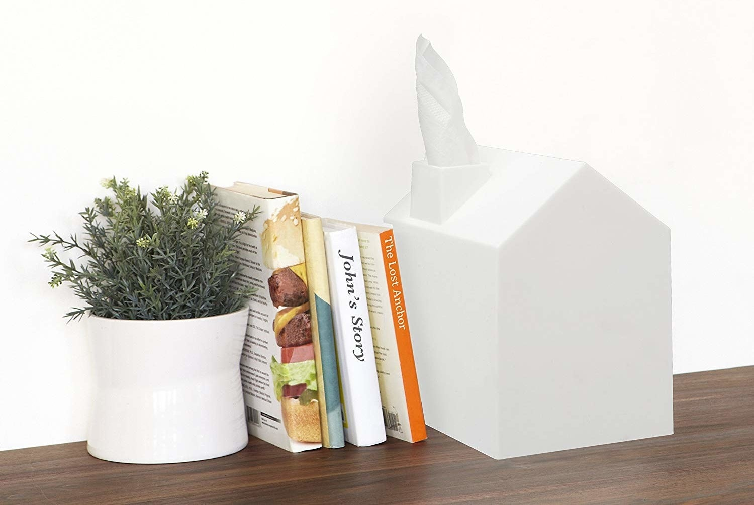 House shaped tissue box with tissues coming out of chimney