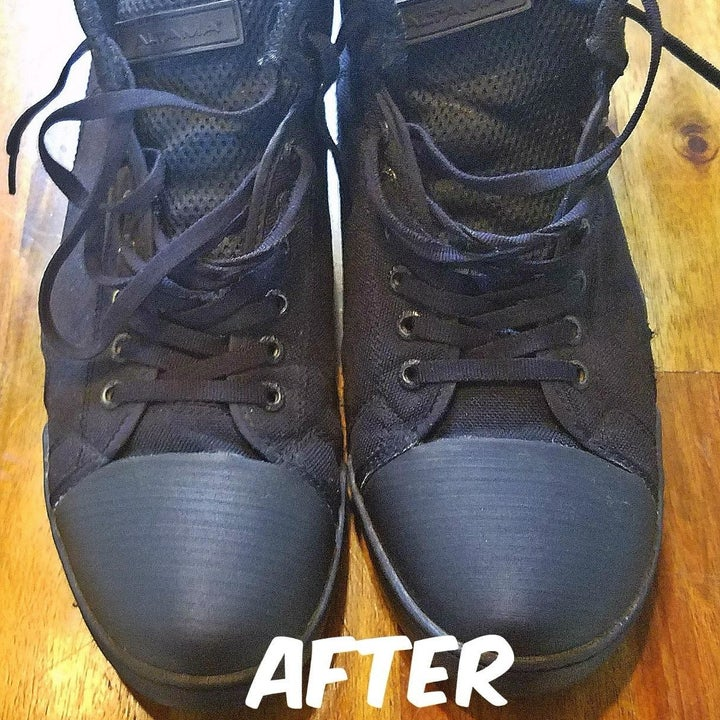The same shoes with all of the dirt removed and restored back to their original blue color