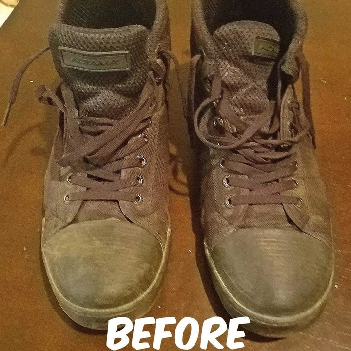 A reviewer's pair of shoes that are so dirty they look completely brown