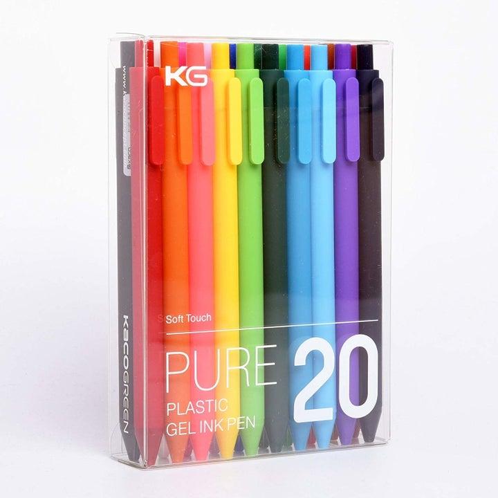 a pack of gel pens displayed in its original packaging